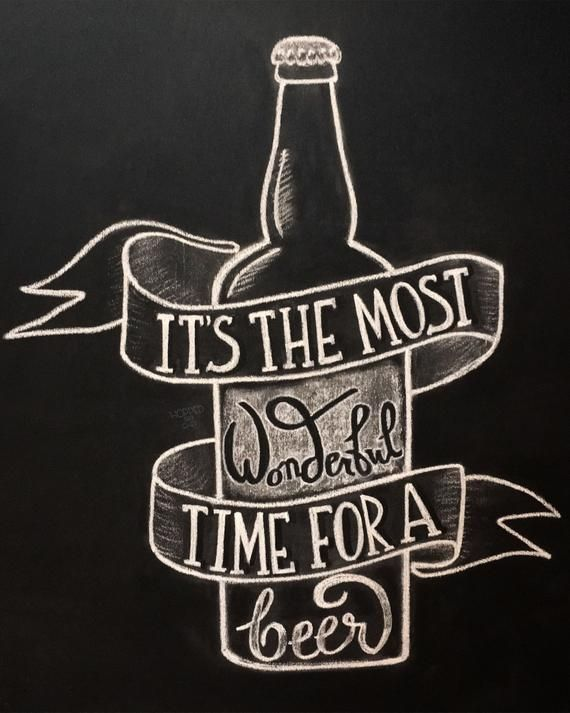 Its The Most Wonderful Time For A Beer Print  DIY Chalkboard Printable  Holiday Decor  Instant D