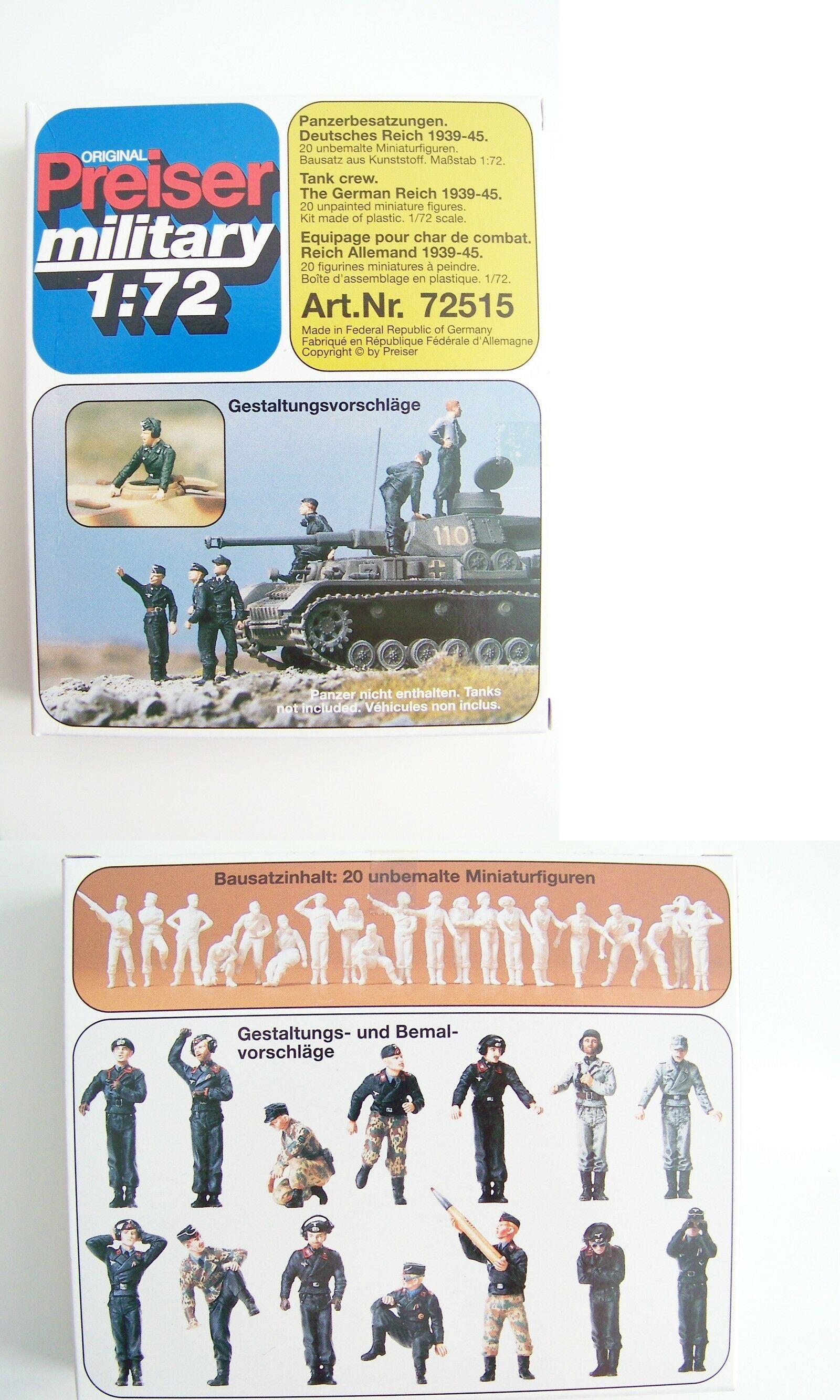 Soldiers Figures 16511: 1:72 Scale Preiser Unpainted German