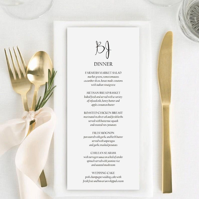 Printable Wedding Menu | Wedding Menu Template | Wedding Menu Card | Menu Template | Printable Wedding Menu Template #WP21_41 #weddingmenutemplate