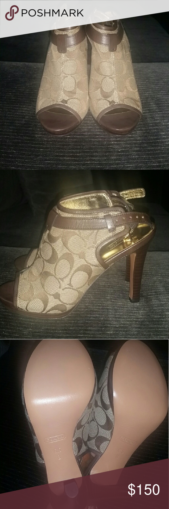 Coach Logo Peep Toe Booties Gorgeous bootie heels from Coach. They have the signature logo, peep toe front, and slingback. These shoes have never been worn. They are brand new without the box and without tags. Coach Shoes Heels