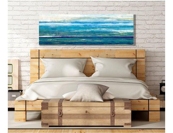 Horizontal Wall Art Large Blue Coastal Art Modern Coastal