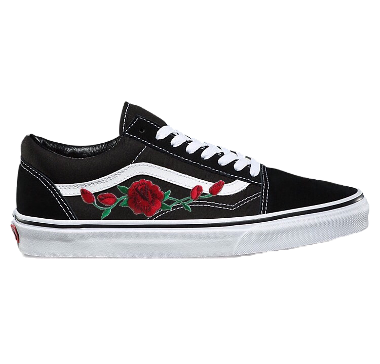 Customized Rose Embroidered Vans Ironed On And Hand Sewed Final Sale No Refunds Or Exchanges With Every Purchase 1 Vans Old Skool Vans Schwarz Skateschuhe
