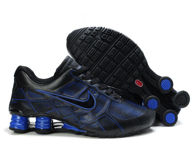 Nike Shox Turbo 12 Mens Running Shoes Leather Black Royal Blue