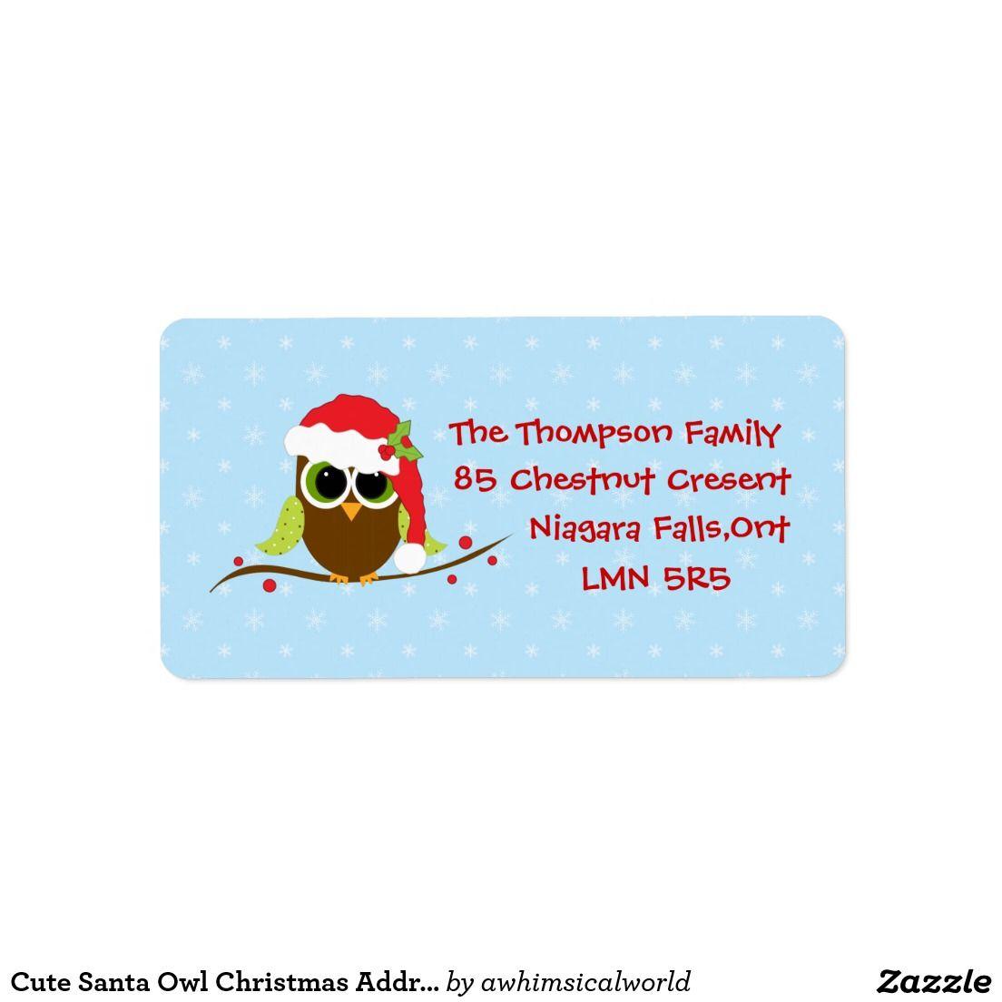 Cute Santa Owl Christmas Address Labels