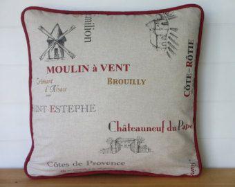 PLATA almohada cubierta de arpillera francés Francés lavanda