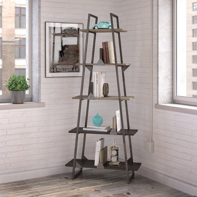 Rustic Gray A Frame Bookshelf Refinery A Frame Bookshelf Bush Furniture Bookshelf Design