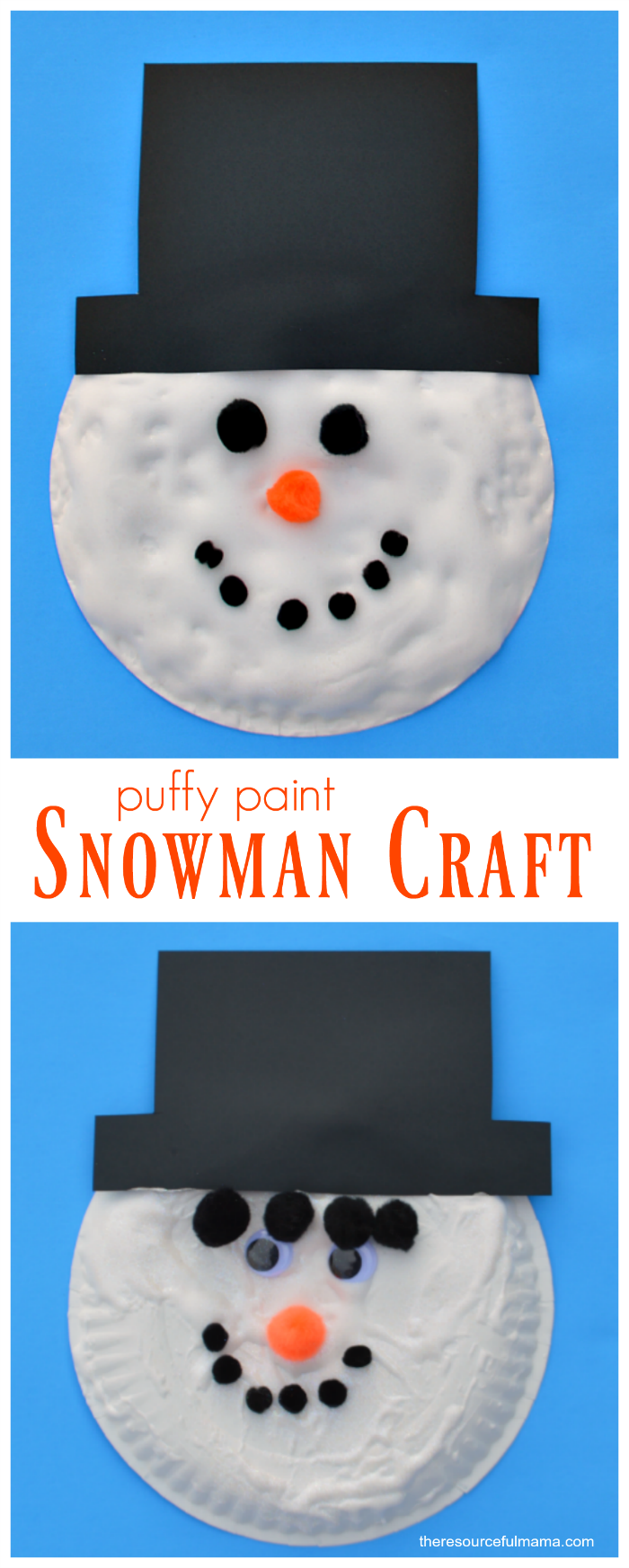 Puffy paint snowman kid craft puffy paint snowman and craft kid love the fluffy texture diy puffy paint gives this paper plate snowman kid craft jeuxipadfo Gallery