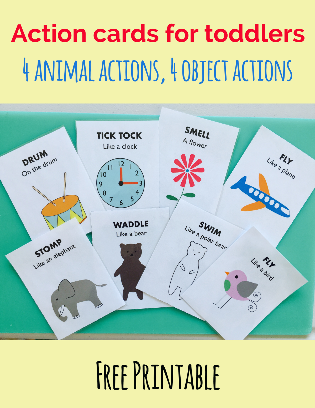 Free animal action cards, action cards for toddlers, animal action ...