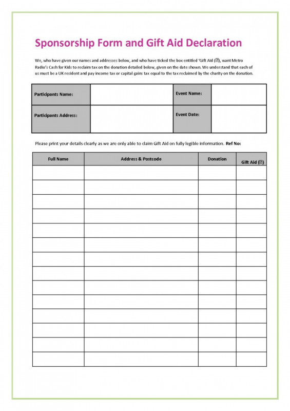 Blank Sponsor form Template Free New 017 Fundraiser form ...