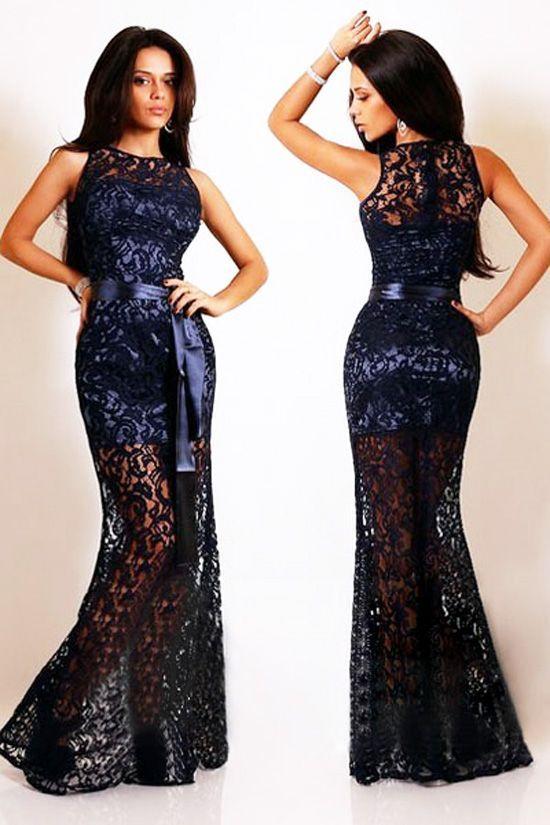 410d64851ac6 Vestido largo de fiesta encaje y satén azul marino   Vestidos cortos ...