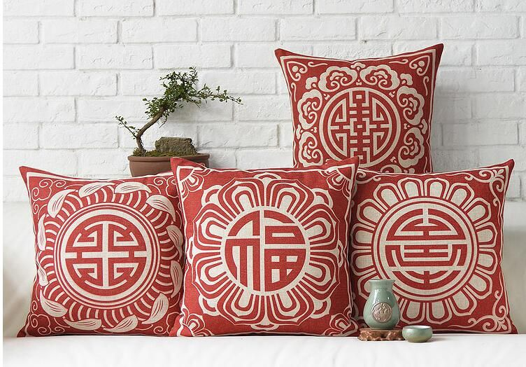 Chinese Style Wedding Pillow For Red Wood Sofa Decorative
