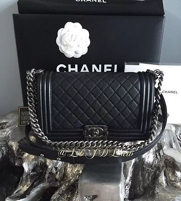 917501717f57d8 NWT CHANEL AUTHENTIC Le Boy Bag Black Caviar Medium Crossbody FRANCE  Ruthenium