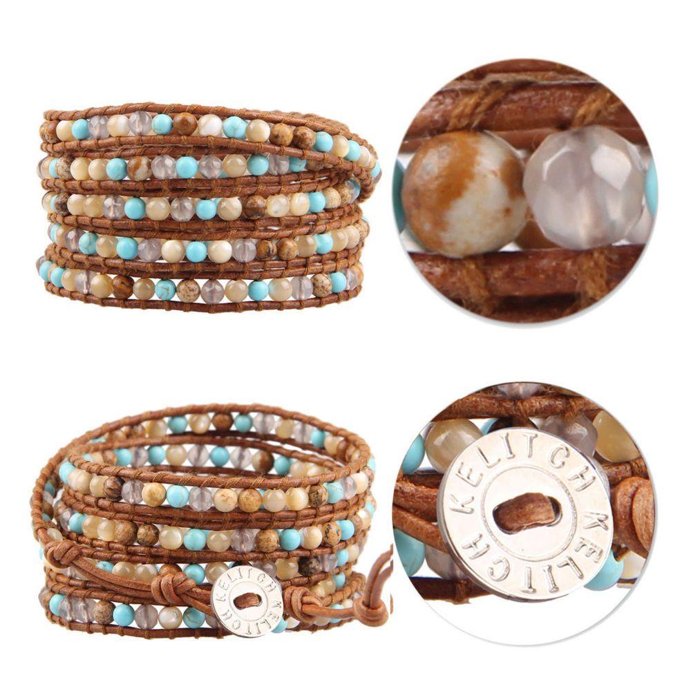 Kelitch Fashion Turquoise & Jasper Charm 5 Wrap Bracelet Leather Chain Jewelry #Kelitch #BangleBeadedcharm