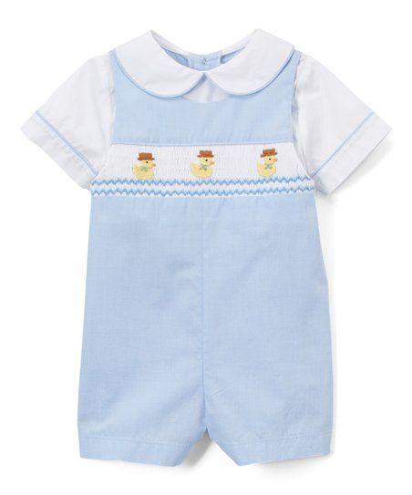 cf1e69fd4387 Fantaisie Bebes Blue   White Duck Smocked Romper - Infant