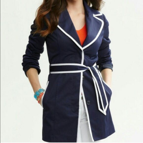 Banana Republic Trench Coat Banana Republic navy blue with white