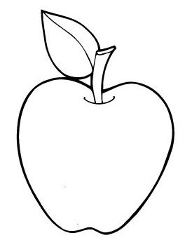 Preschool Apple Template Coloring Page