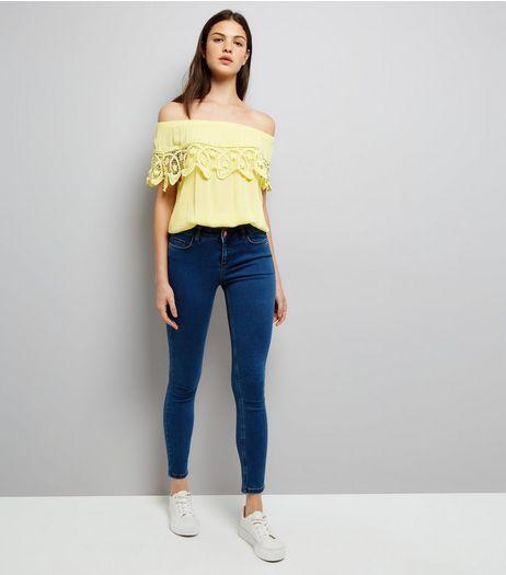 0f8dfa394871 Cameo Rose Yellow Crochet Trim Bardot Neck Top