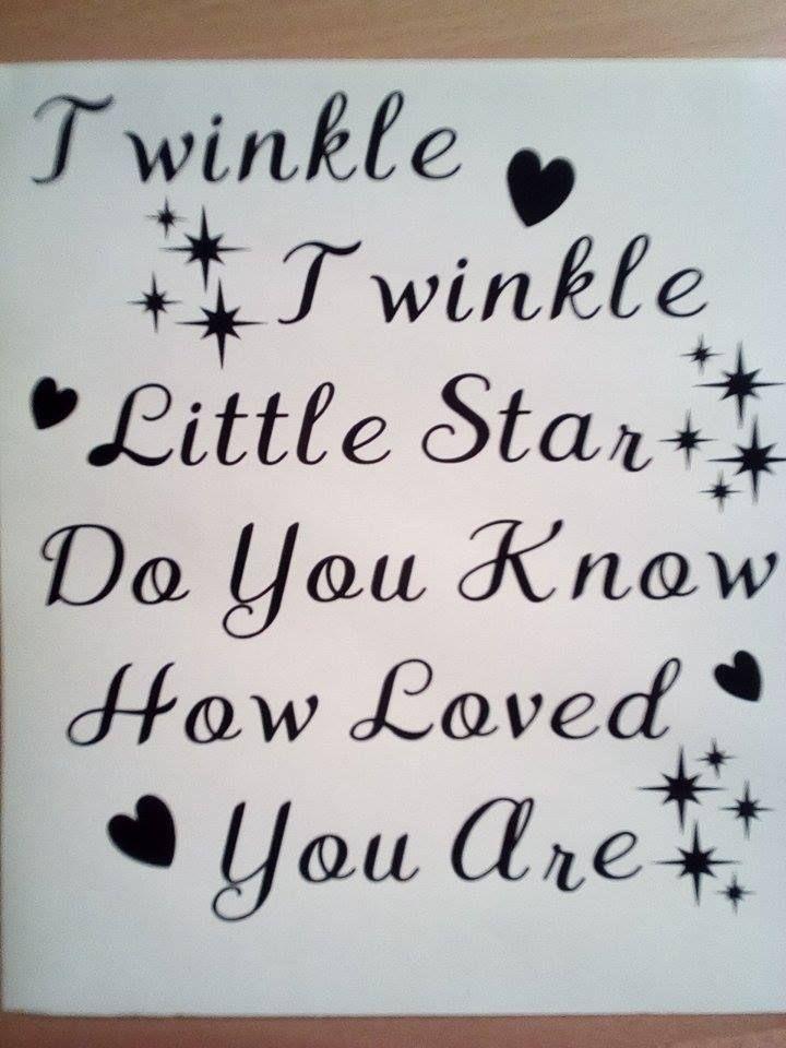 TWINKLE TWINKLE LITTLE STAR Vinyl Decal Sticker fits Ikea Ribba Box Frame DIY