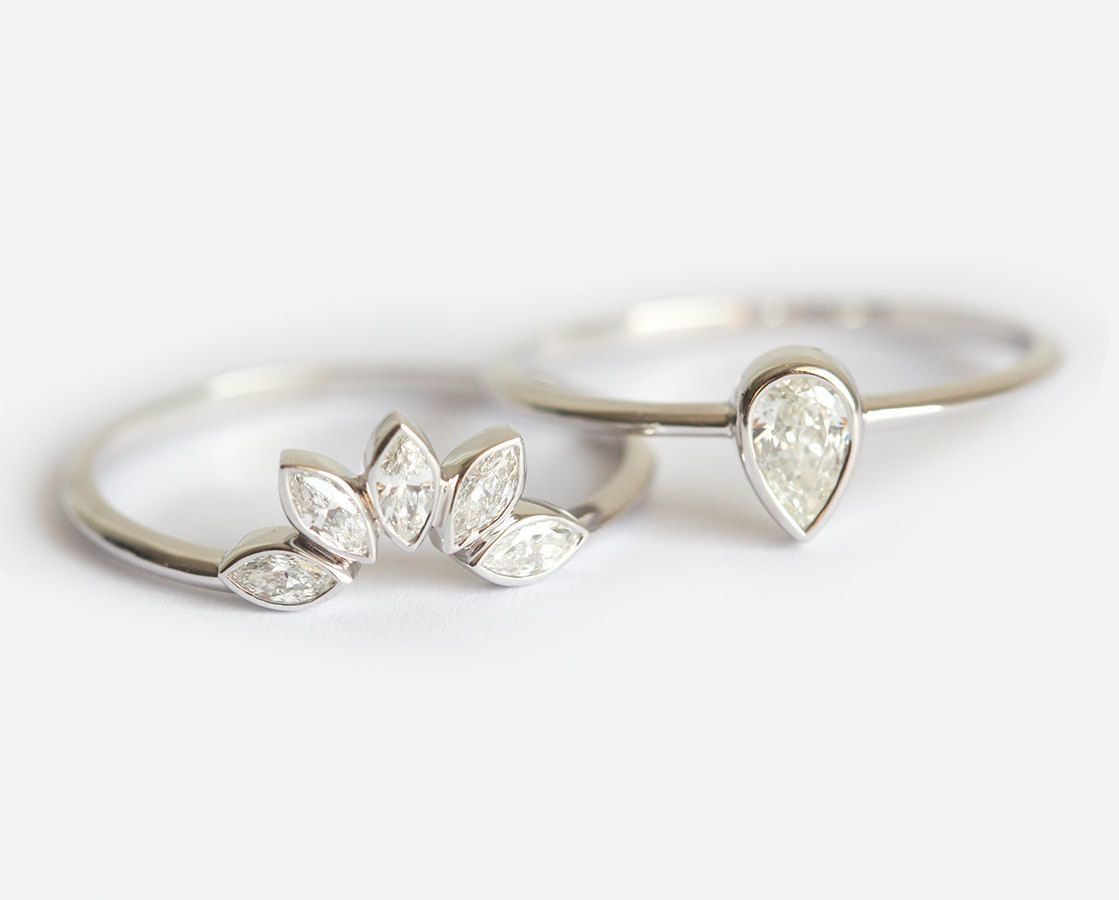 Pear Diamond Engagement Ring Matching Marquise Wedding Band Unique W