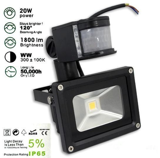 20w Pir Led Flood Lights Motion Sensor Floodlight Garden Light Water Proof Ac85 256v Power Saving Factory Direct Fr Led Flood Lights Water Lighting Led Flood