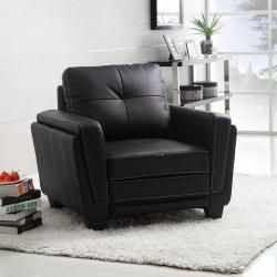 ETHAN HOME Leah Black Faux Leather Low Profile Chair
