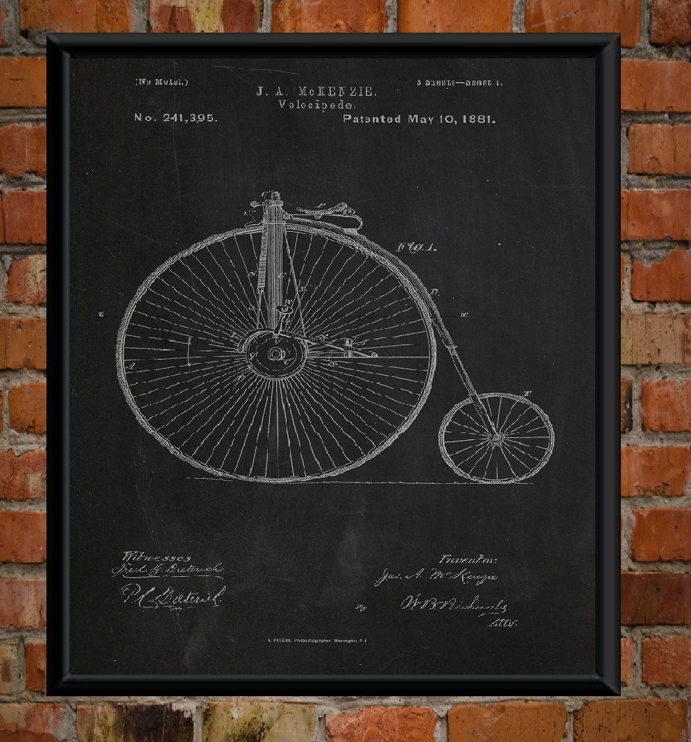 Penny Farthing Bicycle Patent Drawing Print Bicycle Poster