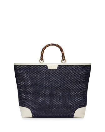 fa09c87031c1 Bamboo Shopper Straw Tote Bag Blue/White   Style   Straw tote, Gucci ...