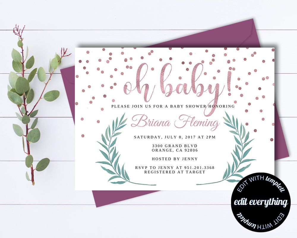 Pink Baby Girl Shower Invitation Template Girl Baby Shower Template