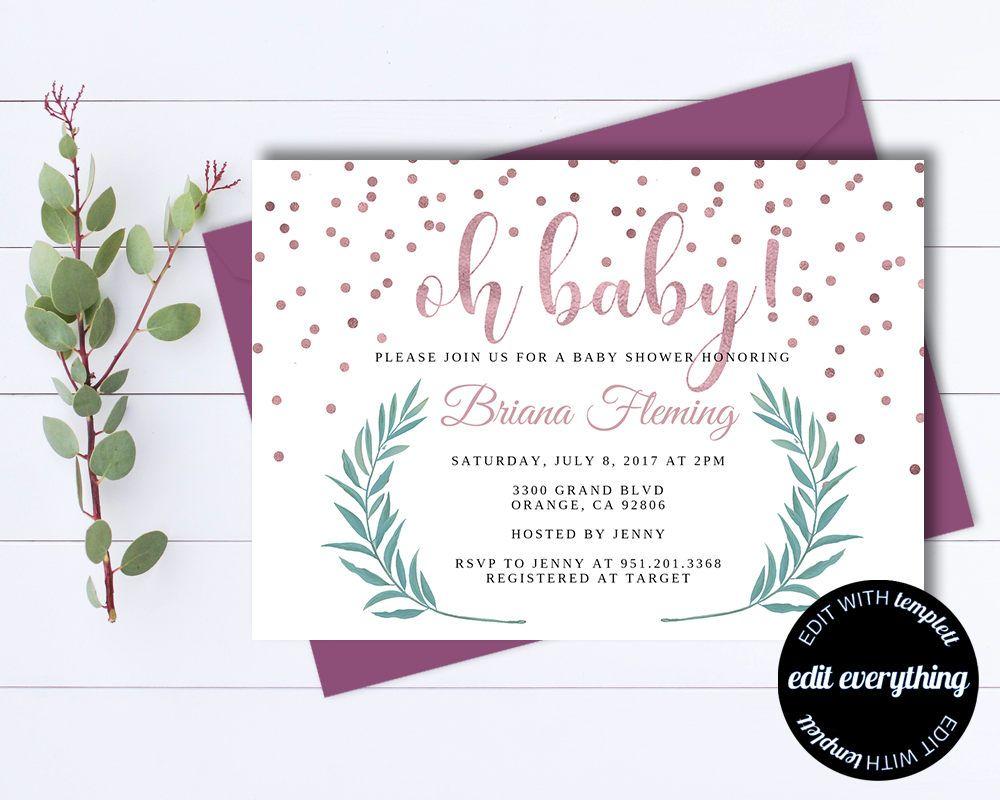 Pink Baby Girl Shower Invitation Template Girl Baby Shower Template - Baby shower invitations templates editable girl