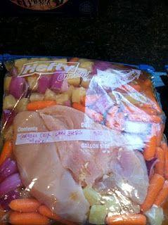 pre-make crockpot meals and freeze them.