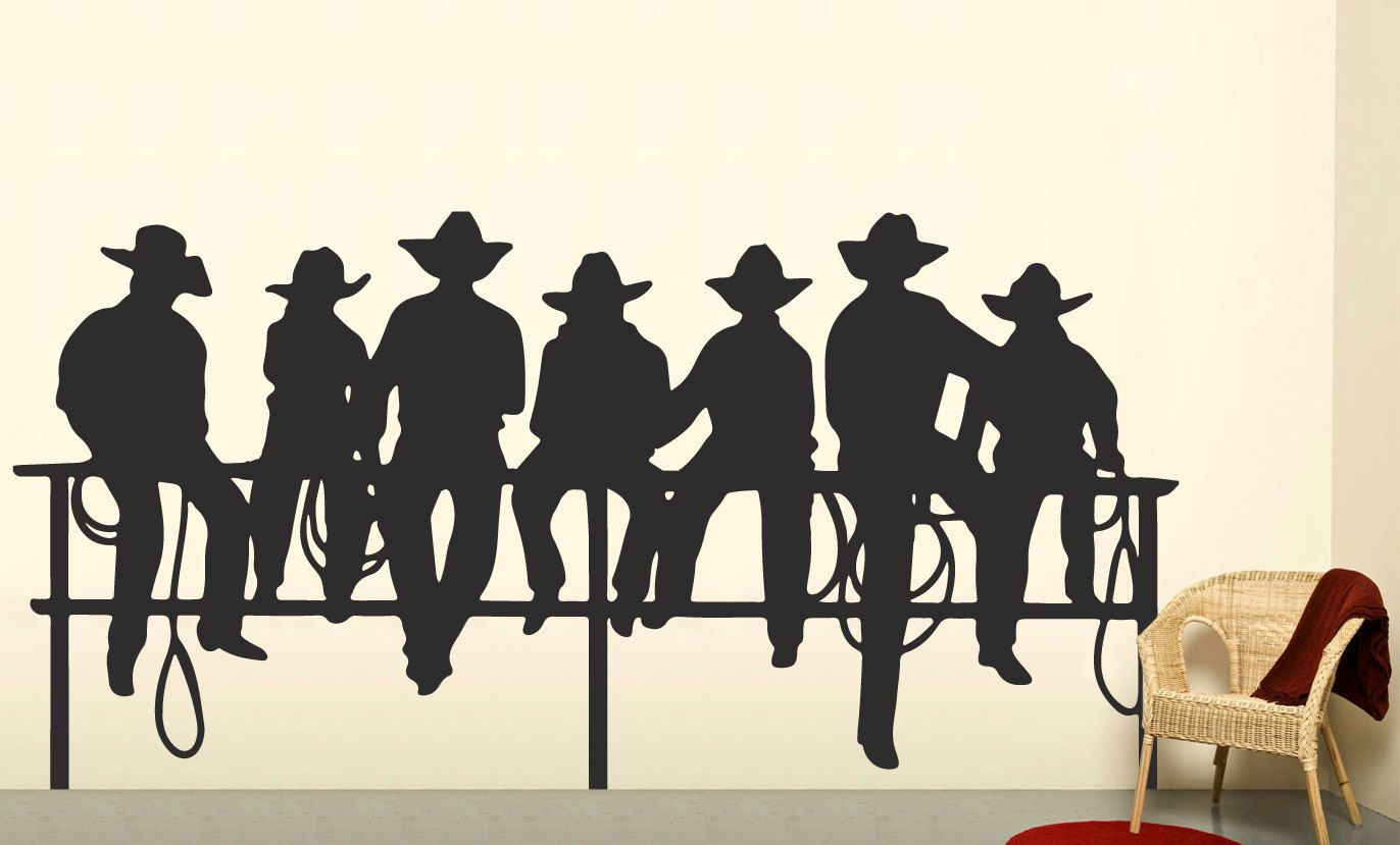 Cowboys on fence western decal boys wall decal western wall cowboys on fence western decal boys wall decal western wall decor by walldecalsource on amipublicfo Images