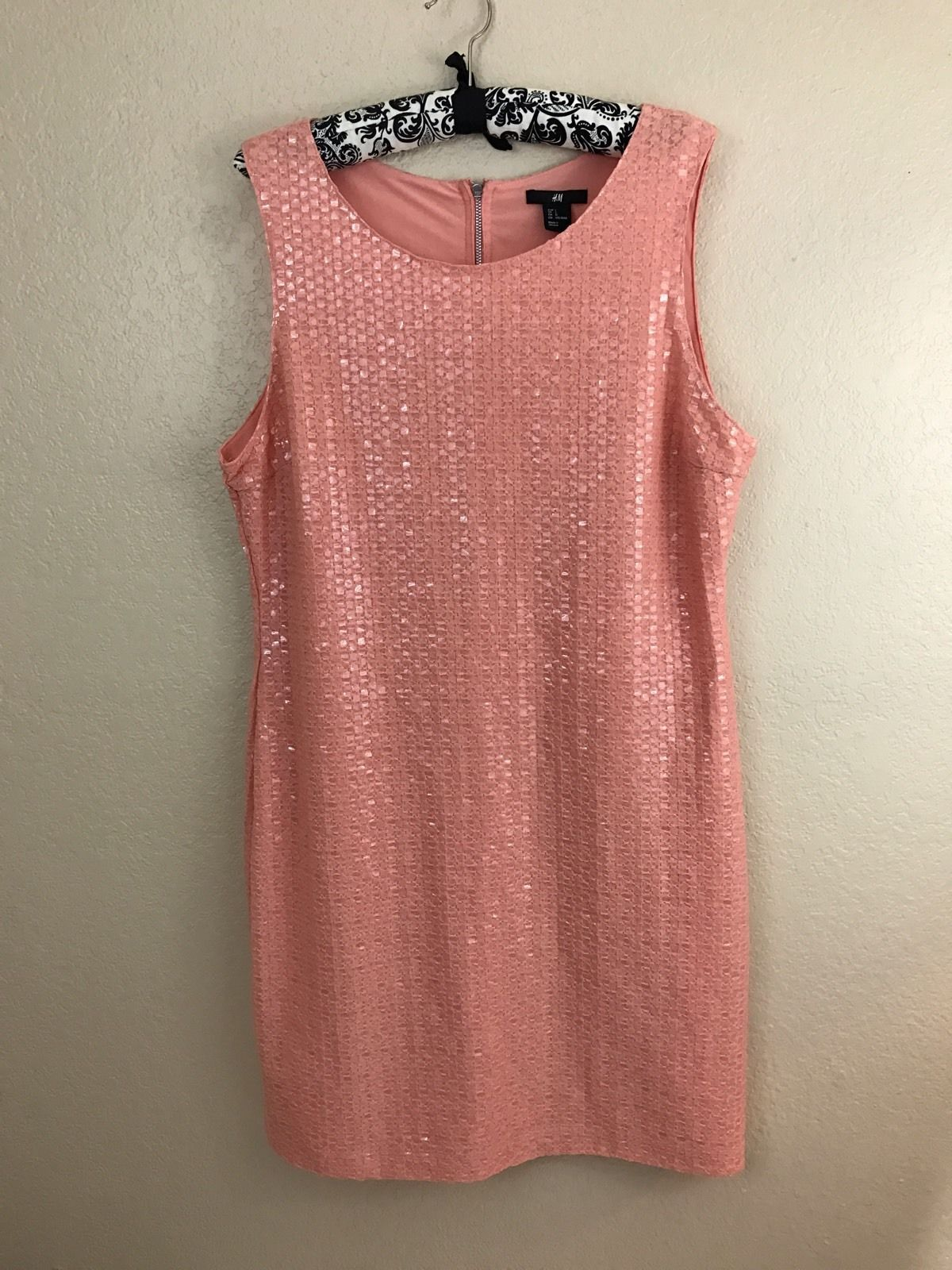 Cool awesome hum peach plastic sequin sheath cocktail dress size