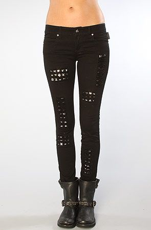 Womens Ladies Knee Ripped Studded Cut Out Denim Jeans