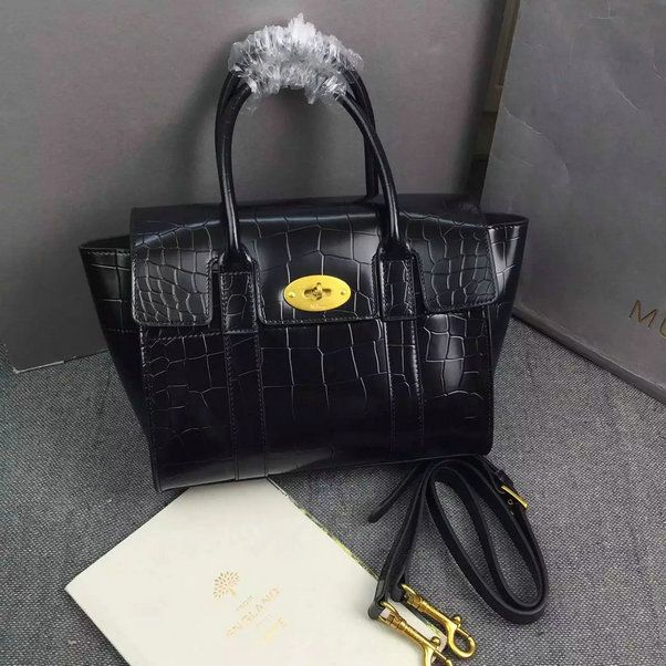 144394e8421 2016 A W Mulberry Small New Bayswater Black Polished Embossed Croc ...