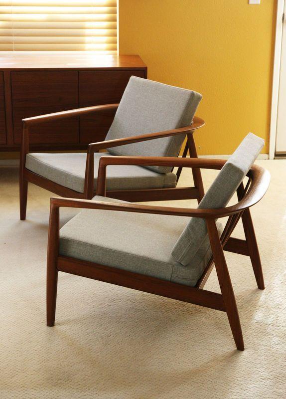 2 Dux Danish Lounge Easy Chair Folke Olssen Teak Mid