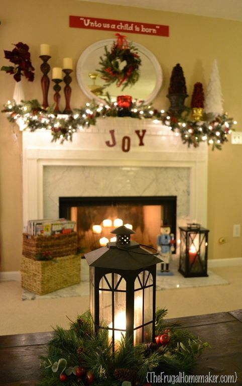 Christmas mantel lanterns Pinterest Crafts, Mantels and As - christmas decorations for mantels