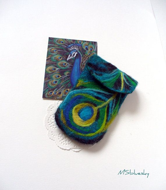 Wet Felted Peacock feather  Felt Case Cell Phone by MSbluesky, $26.00
