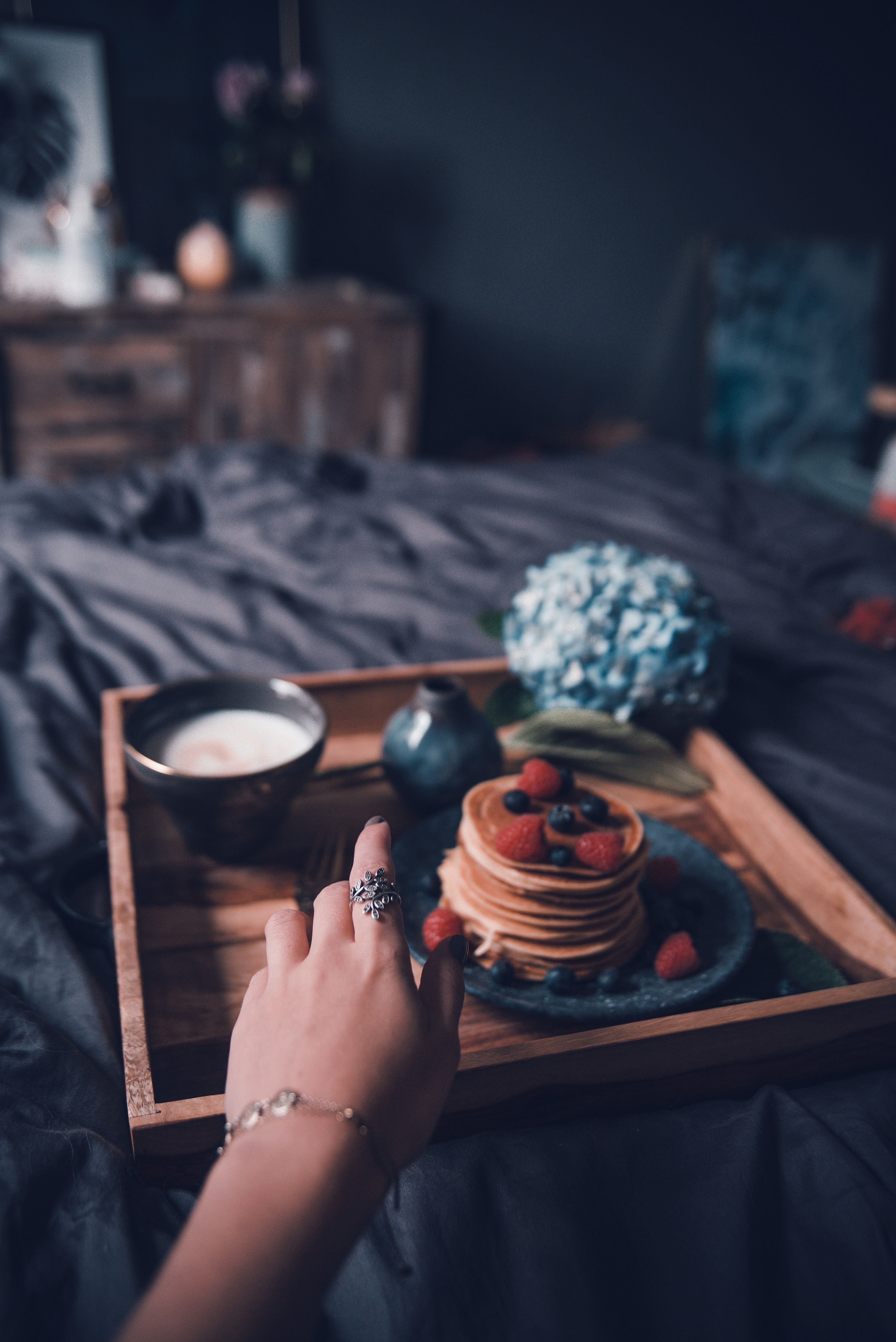 Pancakes Home Breakfast In Bed Coffee Beauty
