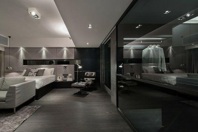 modern wohnen neutrale farben, schlafzimmer klare linienführung neutrale farben schwarz, Design ideen