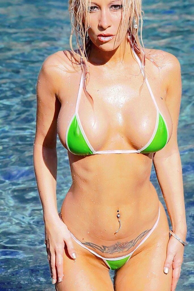 f1528da0da2 Bitsy'S Bikinis Solid Green/White Micro G-String Bikini 2Pc Extreme Mini  Thong
