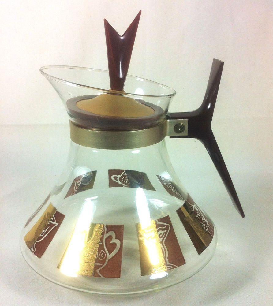 Vintage Glass Coffee Carafe Tea Pot 50s CoffeeCarafe
