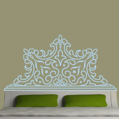 EyvalDecal Rounded Luxe Headboard Vinyl Wall Decal Color: Bashful Blue, Size: Double