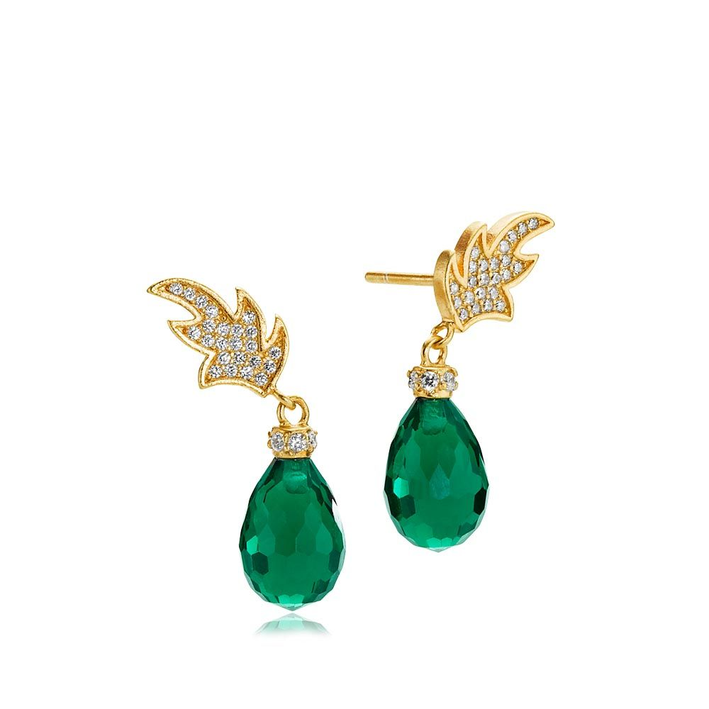 LEAFY earrings shaped as leaves with a beautiful green zirconia ...