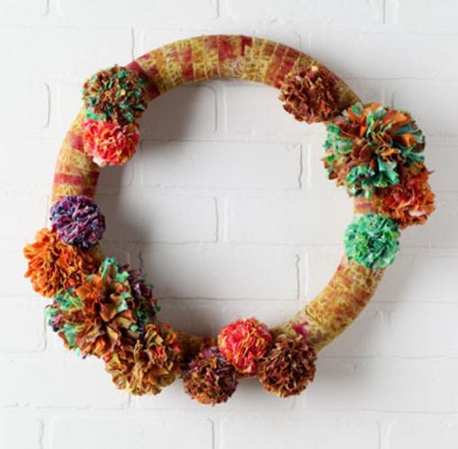 Photo of Tie-Dyed Pom Poms Fabric Wreath