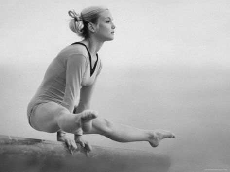 Gymnast Cathy Rigby, Training on Balancing Beam Premium Photographic Print by John Dominis at Art.com