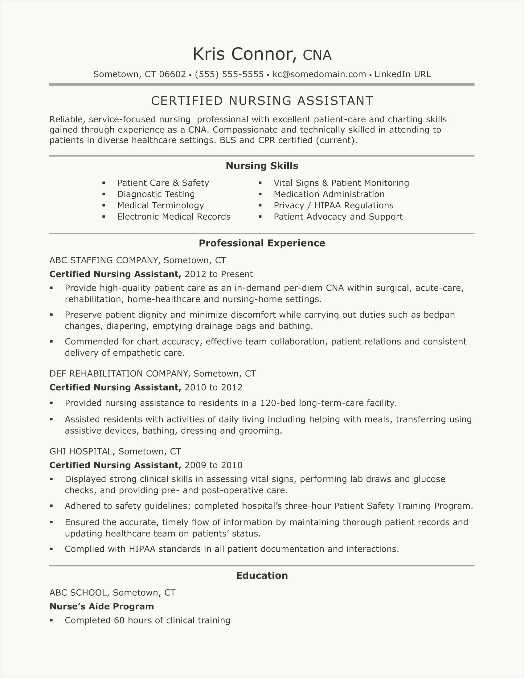 52 Inspirational Nursing Assistant Resume Sample Pics In 2020