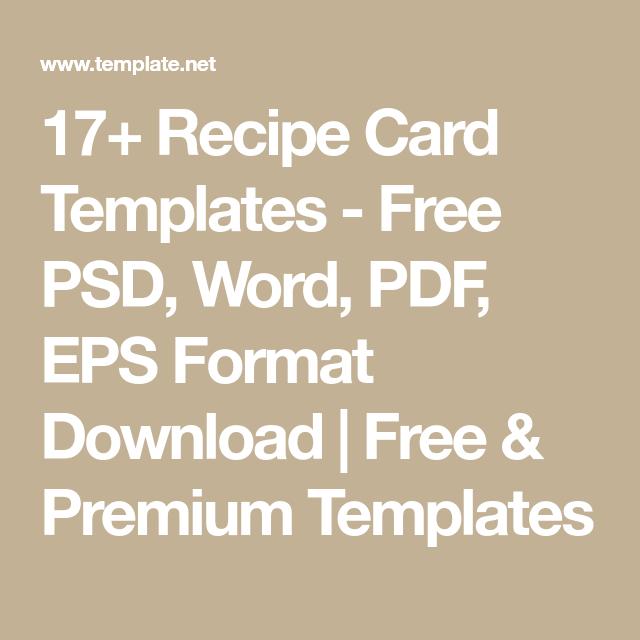 17+ Recipe Card Templates - Free PSD, Word, PDF, EPS Format