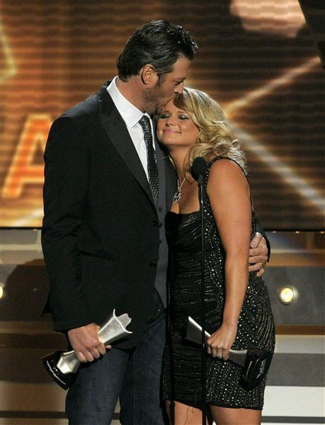 """Miranda Lambert and Blake Shelton accept the award for song of the year for """"Over You"""" at the 48th Annual Academy of Country Music Awards."""