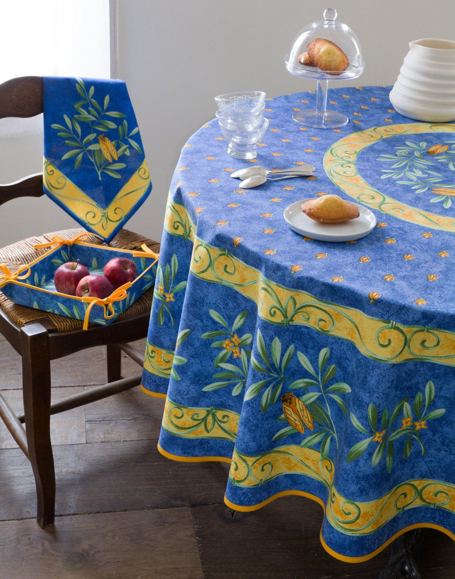 Cigale Blue Printed Cotton 70 Inches Round Table Cloths Etsy In 2020 Table Cloth Elegant Tablecloth Fabric Decor