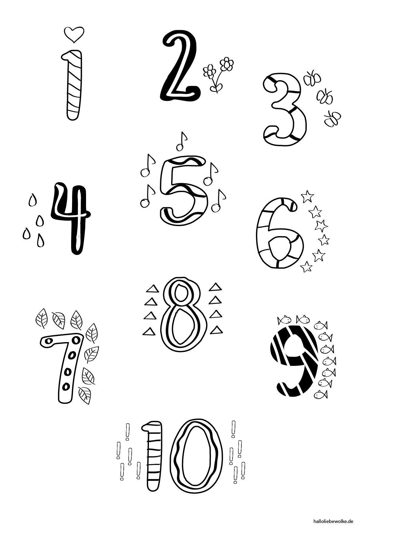 Malvorlagen Zahlen 1 10